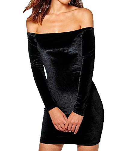aa3950bb6d1 LILY ROSIE GIRL Women's Velvet Off Shoulder Evening Dress Sexy Club Party  Bodycon Mini Dresses