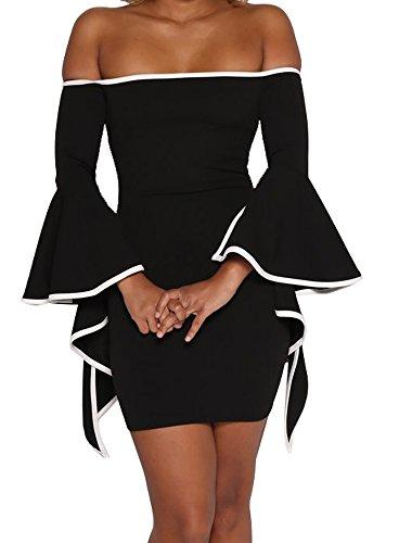 289b5c3399ec CutieLove Women's Summer Casual Sexy Off The Shoulder Slim Fit Bodycon  Party Club Dress
